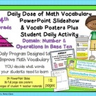 4th Grade Daily Math Vocabulary Slideshow & Poster Set CCS