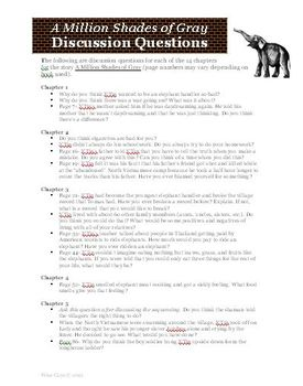 A Million Shades of Gray Chapter by Chapter Discussion Questions
