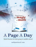 A Page A Day Math Workbook for kids working on middle school math