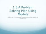 A Problem Solving Plan Using Models