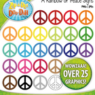 A Rainbow of Peace Signs Clipart — Over 25 Graphics!