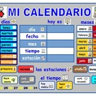 A Spanish calendar  with added symbols .