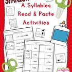 """A Syllables"" Read and Paste Activities (Spanish)"