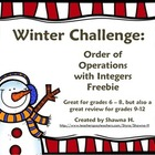 A Winter Math Challenge: Integers and Order of Operations