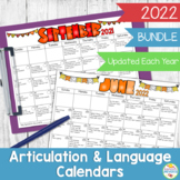 A Year of Speech and Language Homework Calendars {BUNDLE}