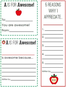 A is for Appreciate: Teacher Appreciation Notes