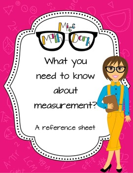 A measurement reference sheet (both metric and Customary) FREE!