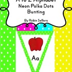 A to Z Alphabet Neon Polka Dots Decor Bunting