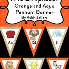 A to Z Alphabet Pennant Banner Classroom Decor Orange and Aqua
