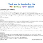 ABC Activity Birthday Party packet