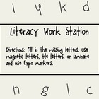 ABC Literacy Work: Fill in the Missing Letters