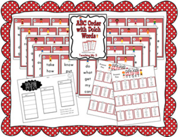 ABC Order Cards for Literacy Centers using Dolch words