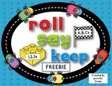 ABC and 123 Roll, Say, Keep FREEBIE!  Building Blocks & Ra