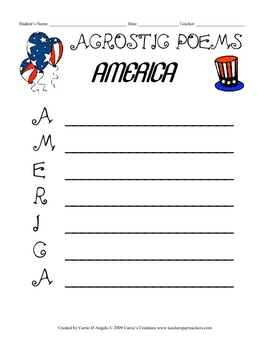 ACROSTIC POEMS - 5 Worksheet Packet - Geography Study Set 1