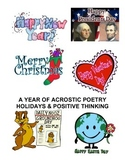 ACROSTIC POETRY WORKBOOK: Holidays and Positive Thinking
