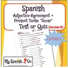 ADJECTIVE AGREEMENT:  Quiz B