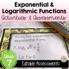 ALG 2 LOGARITHMIC FUNCTIONS: Review, Quiz & Test Bundle
