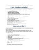 ALWAYS FREE: Fact, Belief, Opinon, or Inference Worksheet