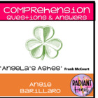 ANGELA&#039;S ASHES Comprehension Questions &amp; Worksheets