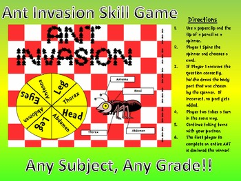 ANT INVASION!!! Fun Center Game with Art Component-Any Subject!