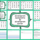 ASSESSMENTS FOR KINDERGARTEN - letters/ sounds/ numbers/ w