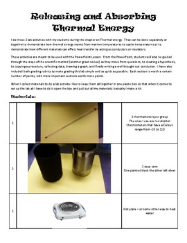Absorbing & Releasing Thermal Energy Lesson Plan