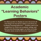 "Academic Learning Behaviors Posters ""Plus""--chocolate/pastel dots"