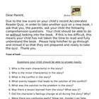 Accelerated Reader Fiction Parent Sheet