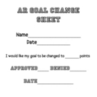 Accelerated Reader Goal Change Sheet