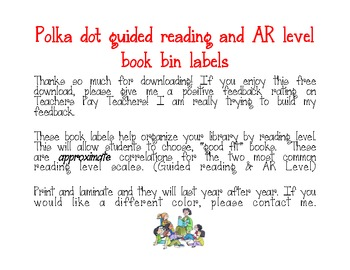 Accelerated reader/Guided Reading level - Library Book Bin Labels