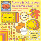 Acorns & Oak Leaves Borders, Papers, & More! Clip Art (80 files)