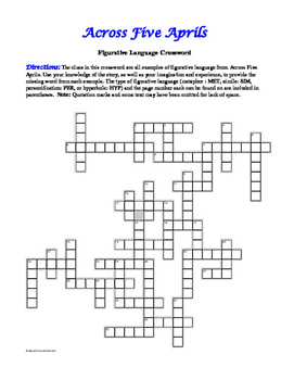 Across Five Aprils: Figurative Language Crossword--Fun!