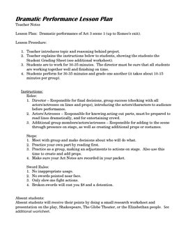 Acting and Dramatic Performance Lesson Plan for Romeo and Juliet