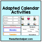 Adapted Calendar Activities for Autism, Special Education,
