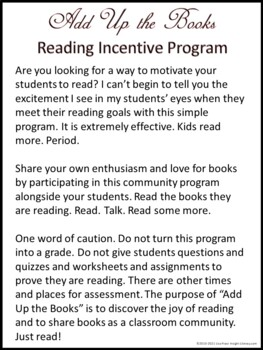 Add Up the Books Reading Incentive Program