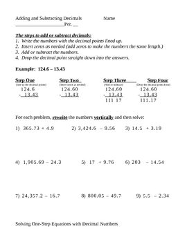 Add and Subtract Decimals with Guided Practice and Equations
