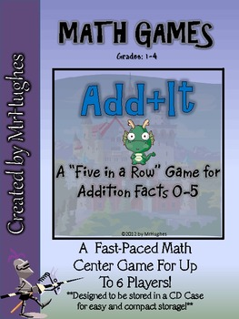 """Add+It"" Five In A Row Addition Math Facts Center (Facts 0-5)"