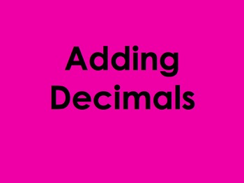 Adding Decimals PowerPoint by Kelly Katz