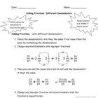 Adding Fractions - Rule Sheets and Questions