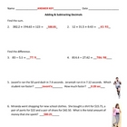 Adding & Subtracting Decimals ~ With Word Problems