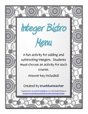 Adding & Subtracting Integer Bistro Menu Activity