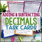 Adding and Subtracting Decimals Task Cards Word Problems f