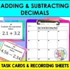 Adding and Subtracting Decimals Task Cards and Recording S