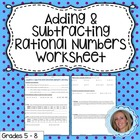 Adding and Subtracting Rational Numbers Review Worksheet