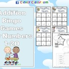 Addition Bingo Games for Numbers 1-20 - 12 games - 7 pages