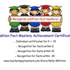 Addition Fact Mastery Achievement Recognition Certificates