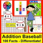 Addition Facts Math Centers Activities Baseball - 4 ways to play