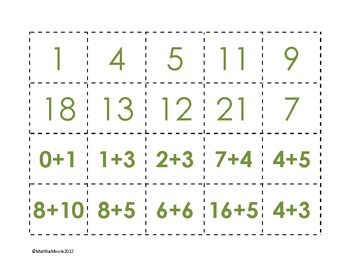 Addition Facts Memory Games