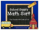 """Addition Math Facts Game- """"Back to School"""""""