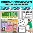 Addition - Math Vocabulary Trading Cards Math Games and Le